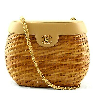 74ed805b273d CHANEL STRAW WICKER Rattan Basket Leather Handbag Vintage AUTHENTIC ...