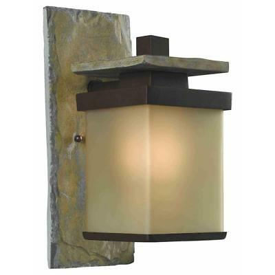 Home Decorators Quarry 1-Light Bronze and Natural Slate Outdoor Wall Lantern