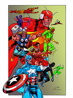 """AVENGERS 11"""" X 17"""" POSTER inked by KEVIN NOWLAN comic art cover"""