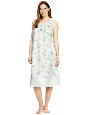 Ladies Marks   Spencer Sleeveless Nightdress Nightie M S Collection Floral  ... 9d9816362