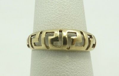 Nice 14K Yellow Gold 5.6mm Cut out Greek Key Ring Size 6.5 2.1 Grams D7102