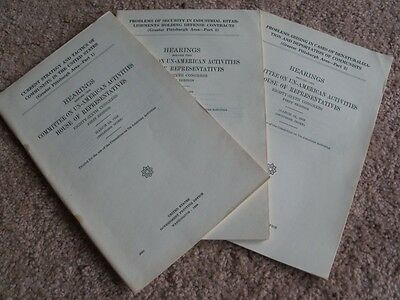 Communists in Greater Pittsburgh Area, 1959 HUAC Hearings, ALL 3 Parts, ORIGINAL