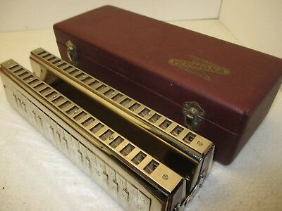 Vintage Rare VERMONA DOUBLE BASS Orchestral Harmonica w/case made in GERMANY