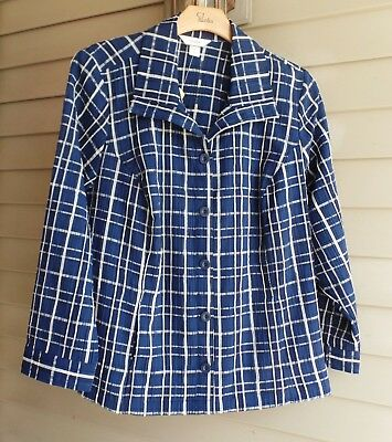 Nwt Cj Bank Perfect Navy Blue Print Button Jacket Sold Out $55 2X