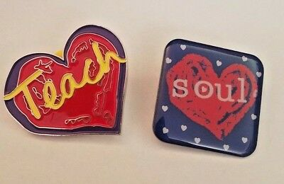 PINS Penzey's Spice SOUL & Heart Shaped TEACH Lapel or Hat Pins with Backs
