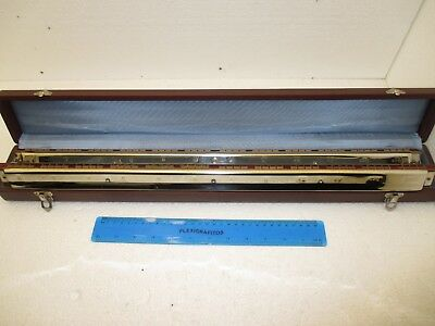 Vintage 60cm DOUBLE Orchestral Brass Harmonica VERMONA 48 Chords made in Germany