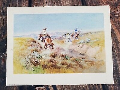CHARLES M RUSSELL Western Art Print 1958 When Cows Were Wild Cowboys Roping vtg