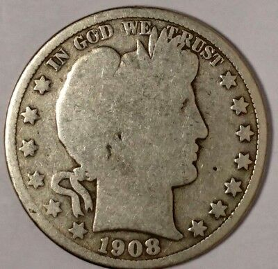 1908-D 50C Barber Half Dollar, 17act0611  90% Silver, 50 Cents Shipping