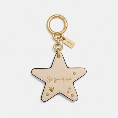 NEW COACH Key Chain Selena Beige & Gold Leather Star 'Love Yourself First' 24107