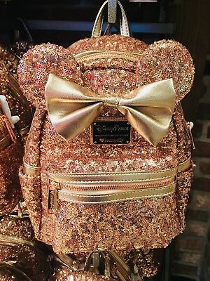 """New Disney Parks Loungefly Rose Gold Minnie Mouse Backpack """"New Version'"""