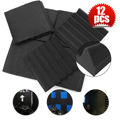"""12 Pack Acoustic Wall Foam Panels Wedge Soundproofing Tiles Studio 1""""x12""""x12"""""""
