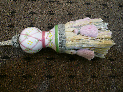 "VTG MacKenzie-Childs Torquay Tassel Pink and Yellow 13"" L-Superb"