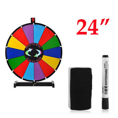 24 inch 14 Slots Prize Wheel Stand Fortune Spinning Game Tabletop Color BE