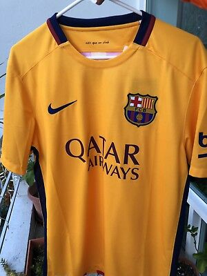 huge selection of abbbb cd105 NIKE BARCELONA FC 2015 Yellow Home Jersey Sz M Mens Messi FIFA Barca $90 SRP