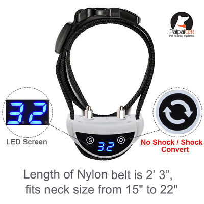 Dog Bark Collar LED Screen USB Rechargeable Two Mode No Shock or Shock Paipaitek