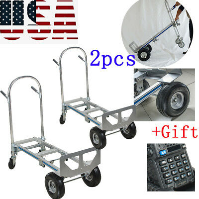 2x Aluminum Hand Truck 770LBS Convertible Foldable Dolly 4 Wheel Cart +Gift New