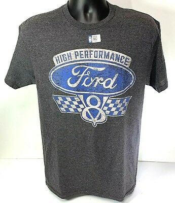 T-Shirt w/ Ford Logo / Emblem High Performance V8 Checkered Flags (Licensed)