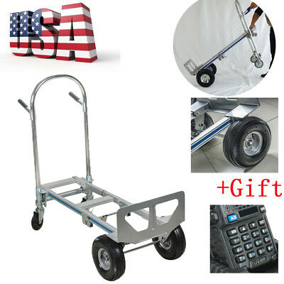 2in1 Aluminum Hand Truck 770LBS Convertible Foldable Dolly 4Wheel Cart +Gift