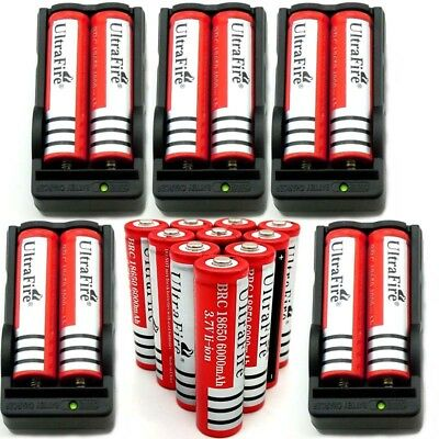 18650 Battery 6000mAh 3.7V Rechargeable Li-ion For Flashlight Smart  Charger