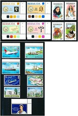 Bermuda 1980 Complete Year Set - 17 MNH Stamps - Sc #389-405