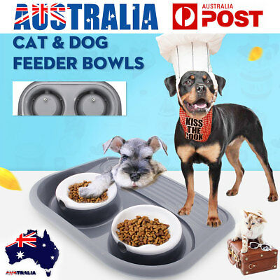 Pet Cat Dog Food Twin Water Feeding Double Bowl Puppy Dish Portable Nonslip