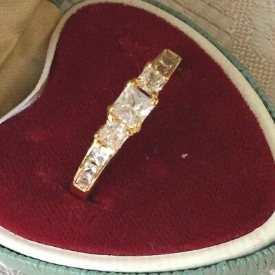 Art Deco Vintage Yellow Gold Ring with White Sapphires Antique Dress Jewelry