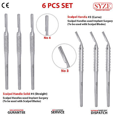 6 Pcs Set BP Scalpel Handles #3 Curved #4 Straight Surgery Anatomical Dissection