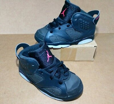 3a81e550fa88be Girls Toddler s Size 10C Jordan Retro 6 VI Pink Anthracite Black 645127-008