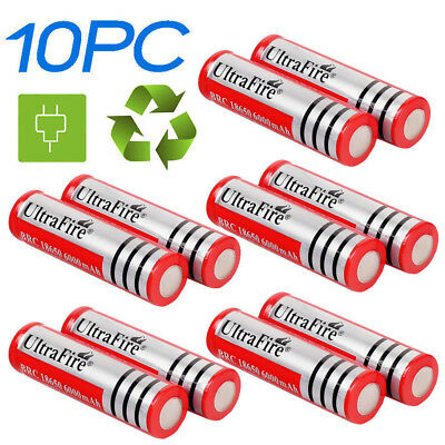 10pcs 3.7V 18650 6000mAh Rechargeable Li-ion Battery For Flashlight Toy Red