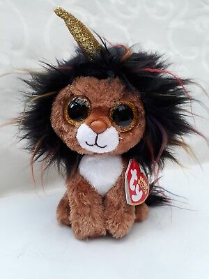 Ty Beanie Boo RAMSEY The Unicorn Lion 15cm Original Soft Brown Plush Toy  From Ty d170fb07ac9