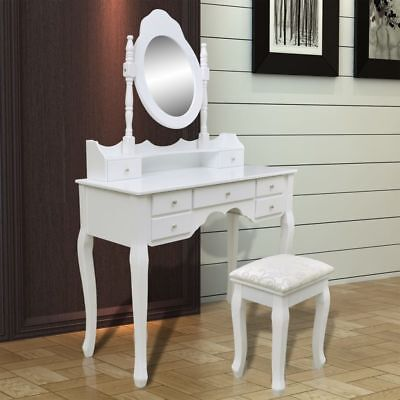 Dressing Table Bathroom Vanity Table Jewelry Makeup Desk with Mirror Stool White