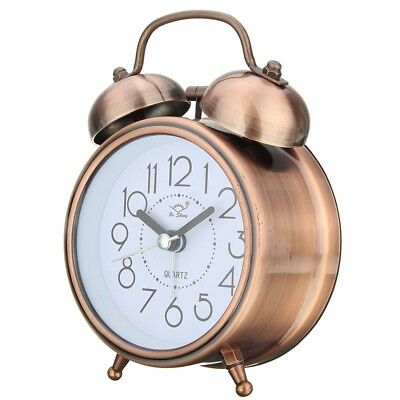 Classic Silent Metal Double Bell Alarm Clock Quartz Movement Bedside Night  T4J3