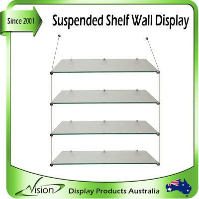 Acrylic Shelf Wall Display Hanging Cable Suspended Shelves for Retail Shop