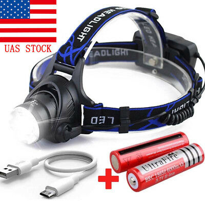 Headlight USB Cable Rechargeable Tactical 50000LM T6 LED Headlamp 18650 Battery