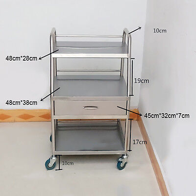 Hospital Medical Dental Cart Trolley 3 Layers W/ One Drawer Stainless Steel UDD