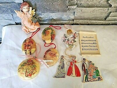 10 Vtg Victorian Christmas Ornaments Paper Mache Santa Angel Pink Roses Heart