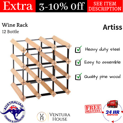12 Bottles Wine Rack Timber Steel Bottle Storage Organiser Display Holder Artiss