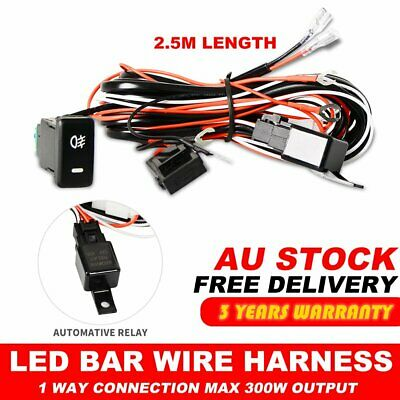 Universal Heavy Duty LED Light Bar Wiring Loom Harness 40A Switch Relay Kit 12V
