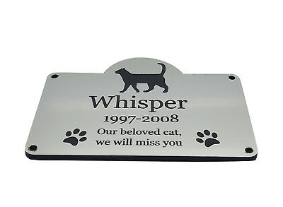 Personalised Pet Cat Memorial Plaque SILVER - Outdoor Garden Waterproof