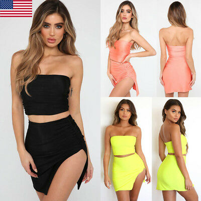 3197f2ee63a Women 2 Piece Bodycon Two Piece Crop Top and Skirt Set Bandage Dress Party  US