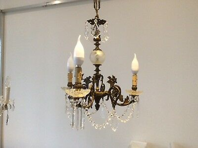 Antique Cast Bronze and Lead Crystals 3-arm French Chandelier, c1920s.