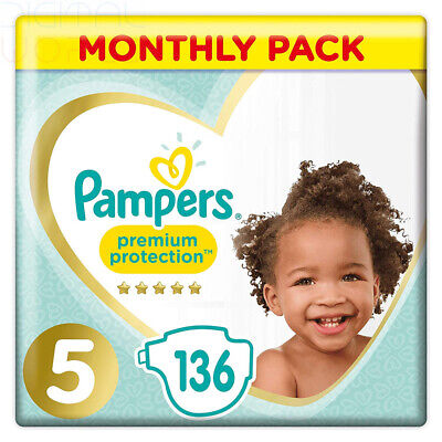 Pampers Premium Protection Size 5, 136 Nappies Pampers' Softest Comfort 11-16 kg