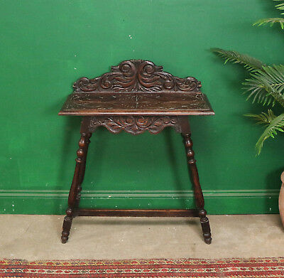 Vintage Hand Carved Hall Table, Dark Oak, Console, 19th Century, Nightstand