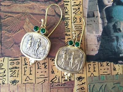 Antique Victorian Etruscan Revival Earrings Gold Ear Rings Vintage Jewelry