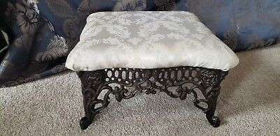 Antique Cast Iron Ornate Victorian Foot Stool Creamy White Upholstery