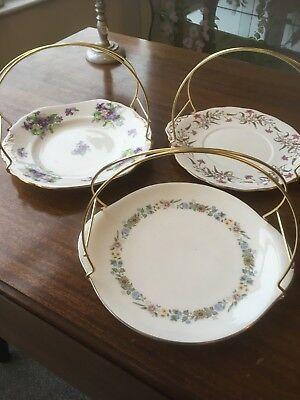 Vintage China Cake Plates With Handles  x 3 Job Lot / Wedding / Party / Tea Room