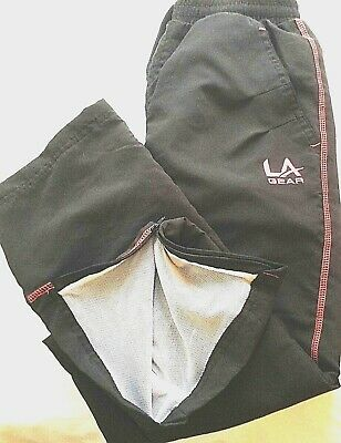 L A Gear Girls Black Open Hem Tracksuit Bottoms Joggers Lined Zip Ankle 9-10 Yrs