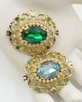 Vintage 1940's CORO signed Oval Rhinestone Faux Pearls Pair of Brooches DEJ543