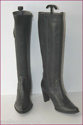 LE DEFILE Boots heels Black Leather Lined leather T 38 VERY GOOD CONDITION