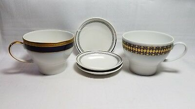 Heritage China - Bavaria Germany - 3 Wee Plates & 2 Cups -Blue/gold/silver/black